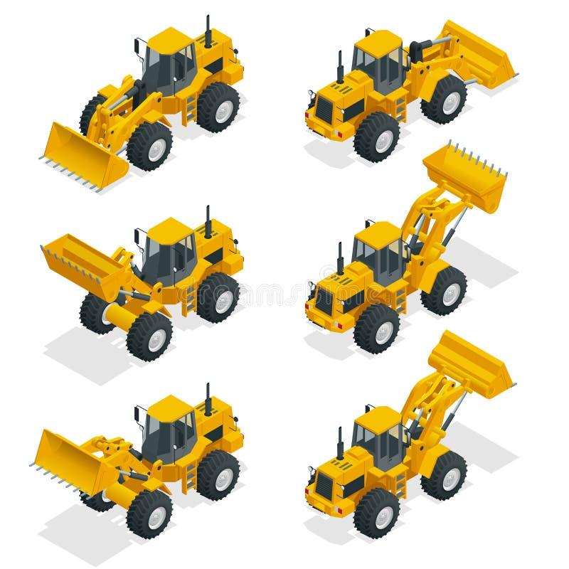 Isometrischer Vektorillustrationsgelb-Planierraupentraktor, Baumaschine, Planierraupe lokalisiert auf Weiß Gelbes Rad stock abbildung