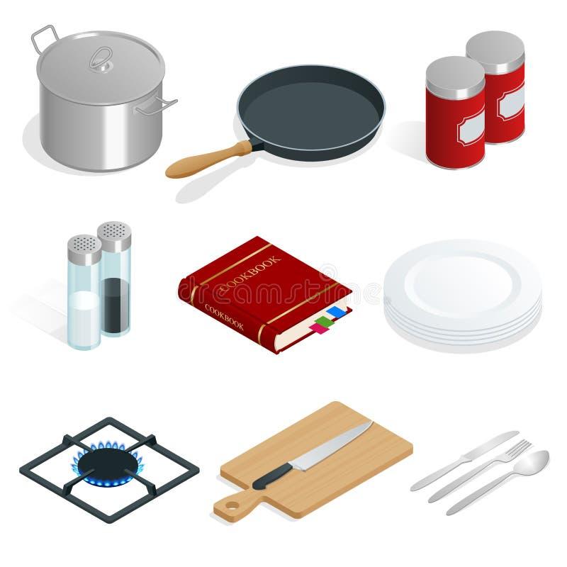 Isometrischer Vektorsatz Berufsküchengeschirr und Geräte auf weißem Hintergrund stock abbildung