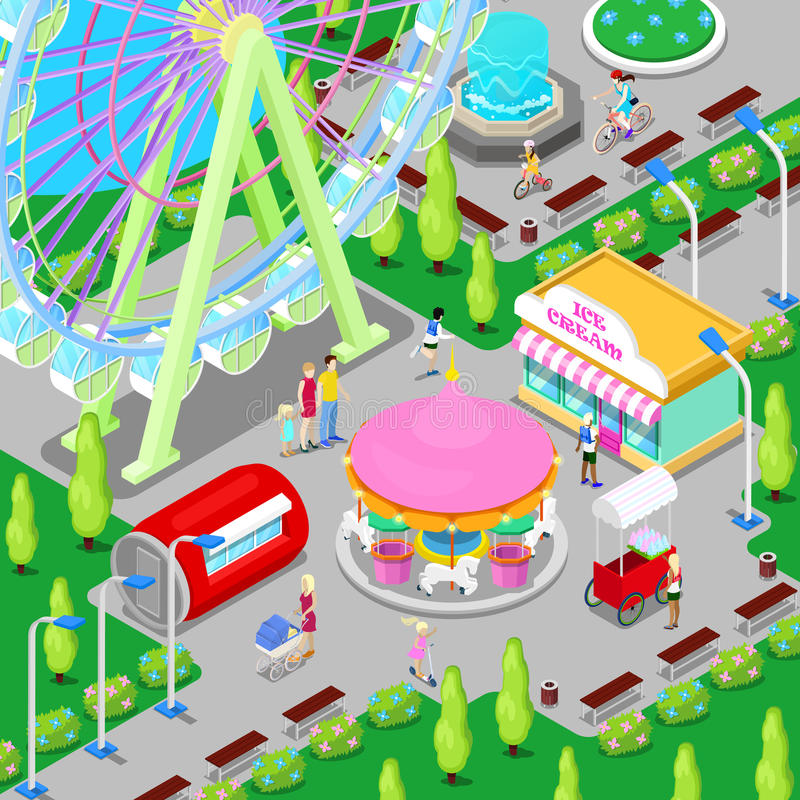 Isometrischer Vergnügungspark mit Karussell Ferris Wheel und Kindern vektor abbildung