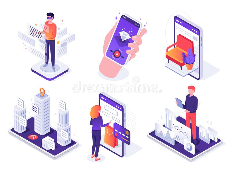 Isometrischer vergrößerter Wirklichkeit Smartphone Mobile AR-Plattform, virtuelles Spiel und Navigationsvektorkonzept der Smartph vektor abbildung