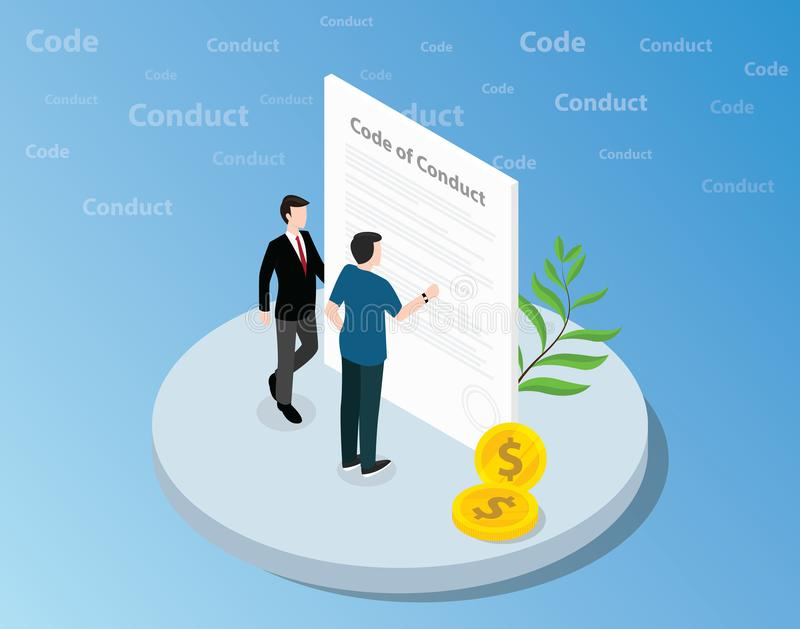 Isometrischer Verhaltenskodex Konzept mit auf Front des Textes dem zusammen stehenden und lesenden Geschäftsmann - Vektor lizenzfreie abbildung