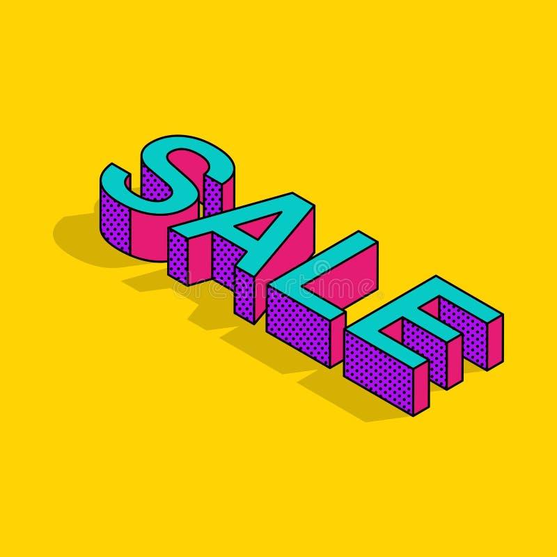 isometrischer Verkaufstext der Pop-Art 3d lizenzfreie abbildung