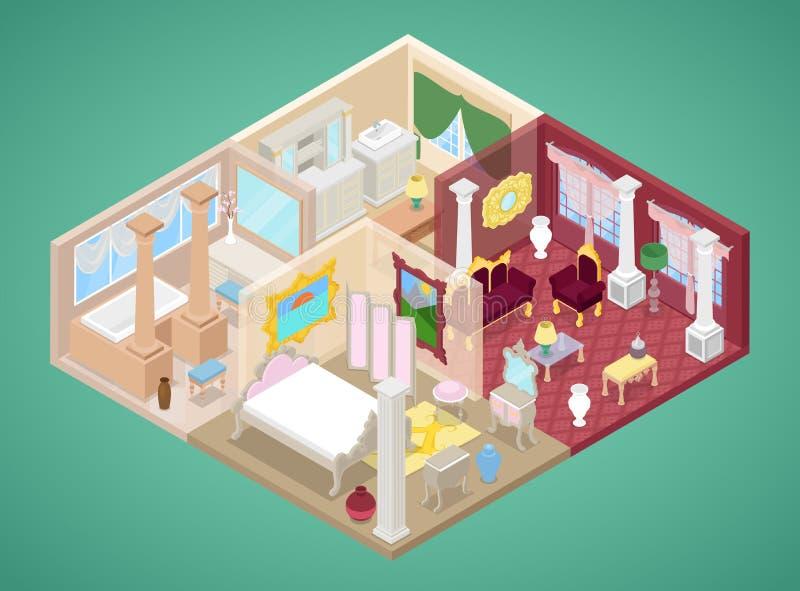 Isometrischer Wohnungs-Innenraum in der klassischen Art mit Küche, Wohnzimmer und Badezimmer vektor abbildung