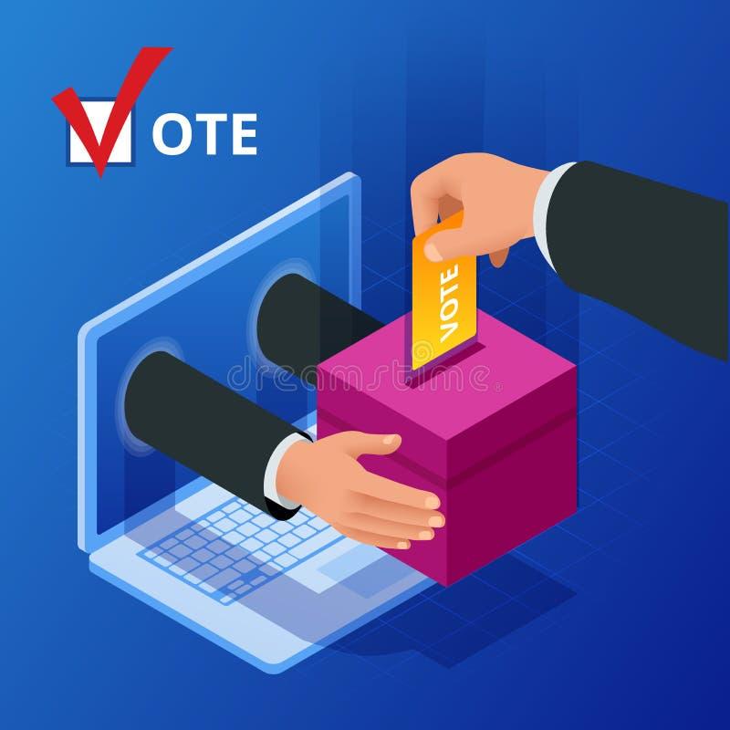 Isometrisches Abstimmungs- und Wahlon-line-konzept Digital-on-line-Abstimmungsdemokratiepolitik-Wahlregierung vektor abbildung