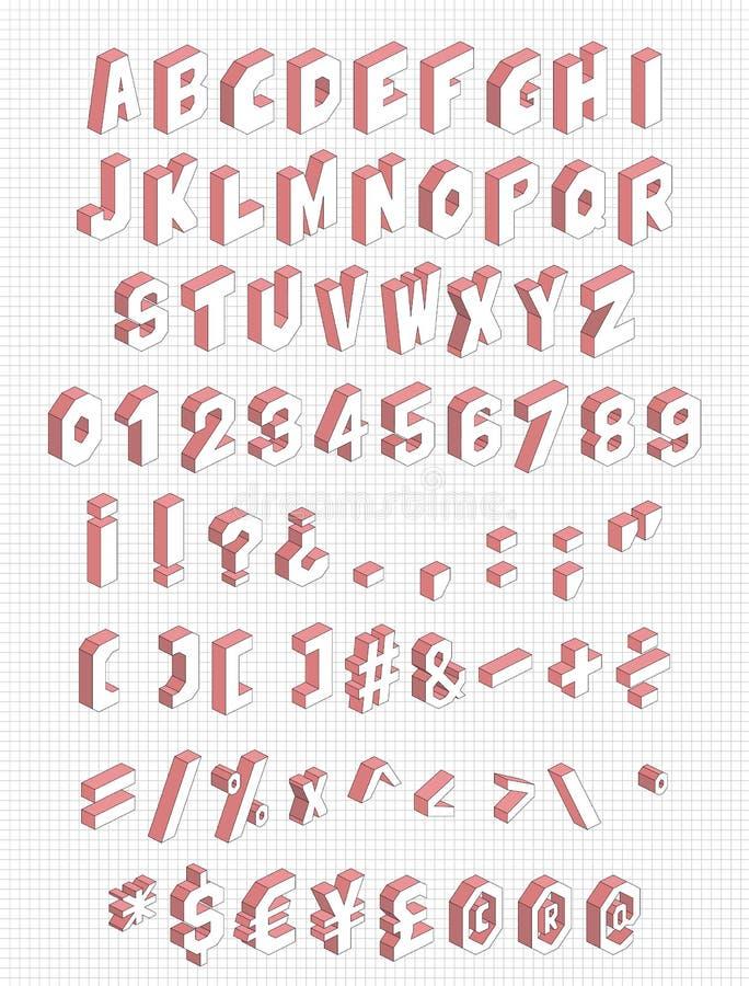 Isometrisches Alphabet mit Buchstaben, Zahlen und so weiter Vektorillustration Satz mit 71 Symbolen stock abbildung