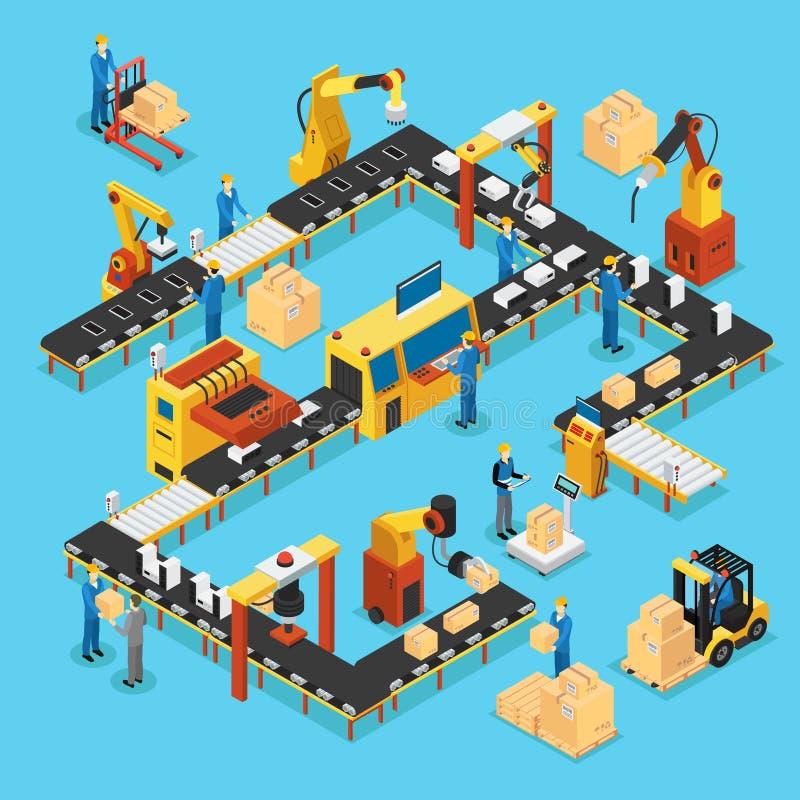Isometrisches automatisiertes Fertigungsstraße-Konzept stock abbildung