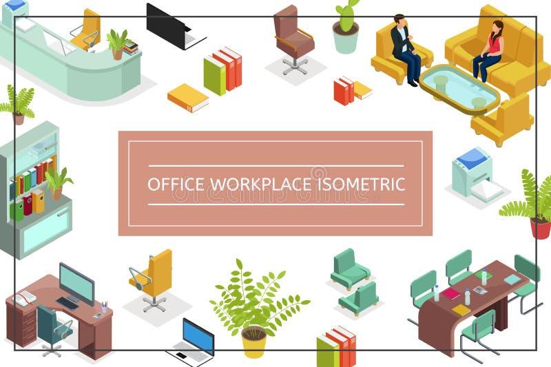 Isometrisches Büro-Arbeitsplatz-Konzept vektor abbildung