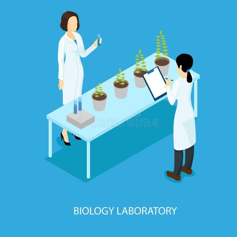 Isometrisches biologisches wissenschaftliches Experiment-Konzept lizenzfreie abbildung
