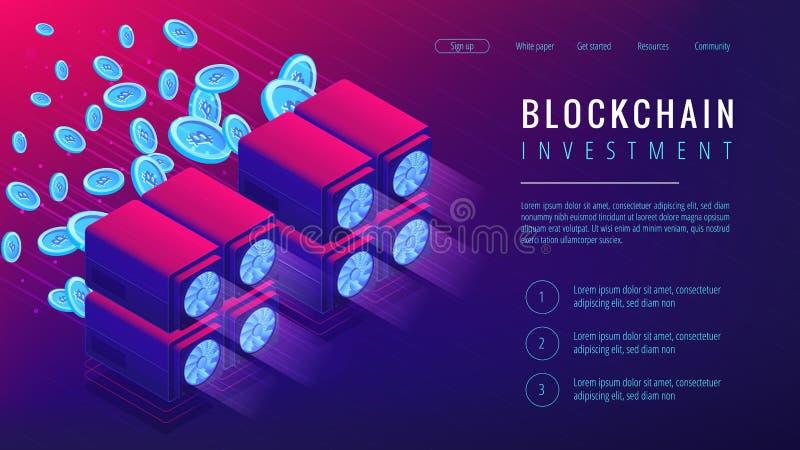 Isometrisches blockchain Investitionslandungs-Seitenkonzept vektor abbildung