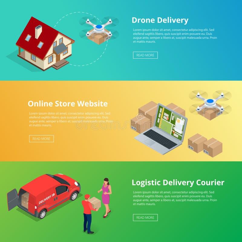 Isometrisches Brummen-schnelle Lieferung von Waren in der Stadt Technologisches Versandinnovationskonzept Autonome Logistik stock abbildung