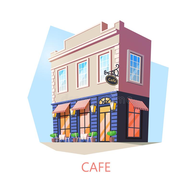 Isometrisches Café oder Cafeteria, Bistrogebäude vektor abbildung