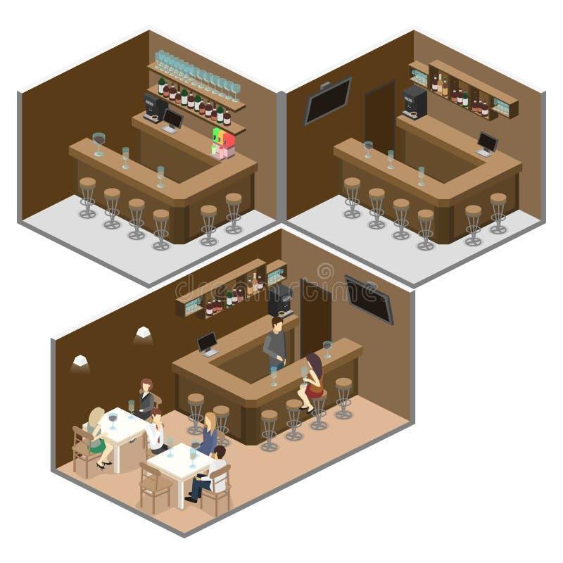 Isometrisches 3D flach Innen von der Bar oder von der Kneipe Der Stuhlstand um die Stange stock abbildung