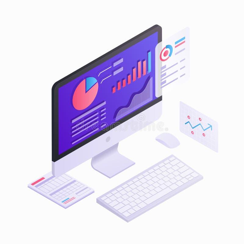 Isometrisches Design 3d des Computermonitors mit infographic Elementen Geschäftsstrategie und Planung, Daten und Investitionen lizenzfreie abbildung