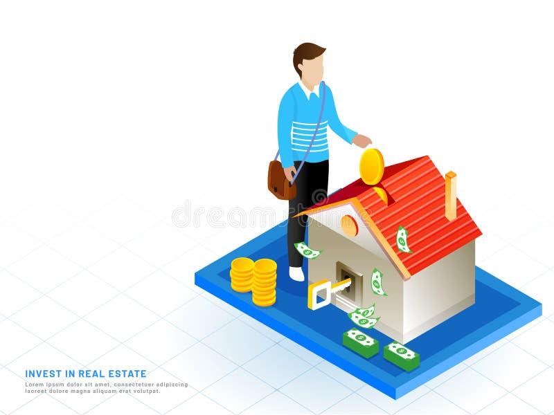 Isometrisches Design für Invest in Real Estate, Mann investieren sein Geld lizenzfreie abbildung