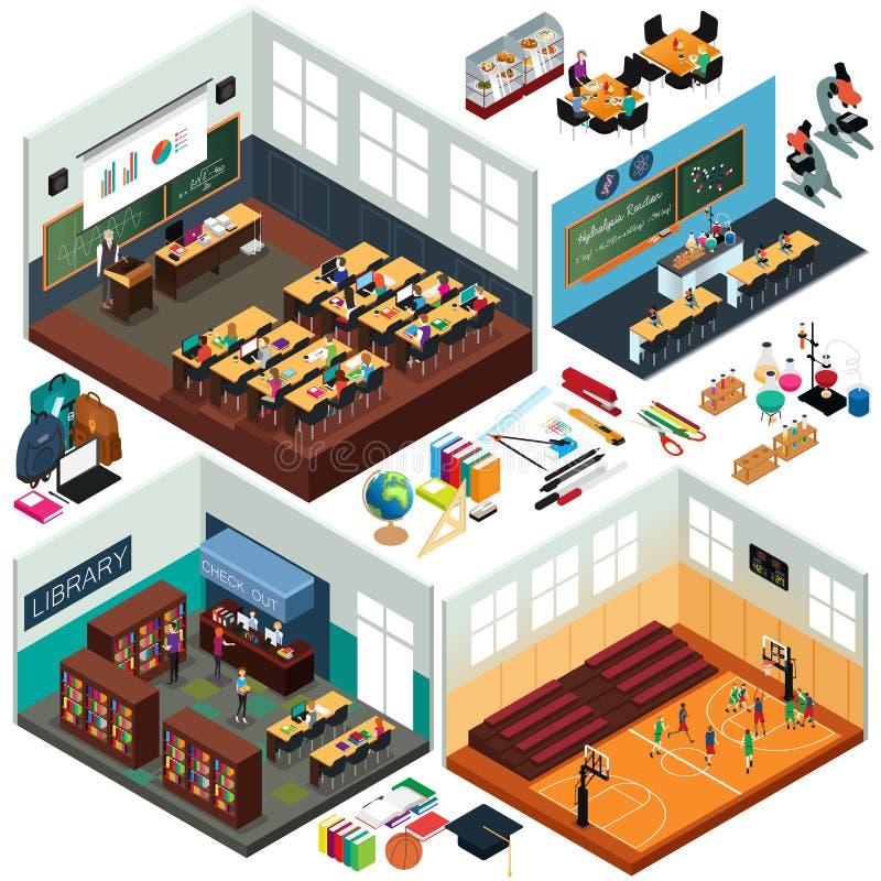 Isometrisches Design von Schulgebäudeen und von Klassenzimmern vektor abbildung