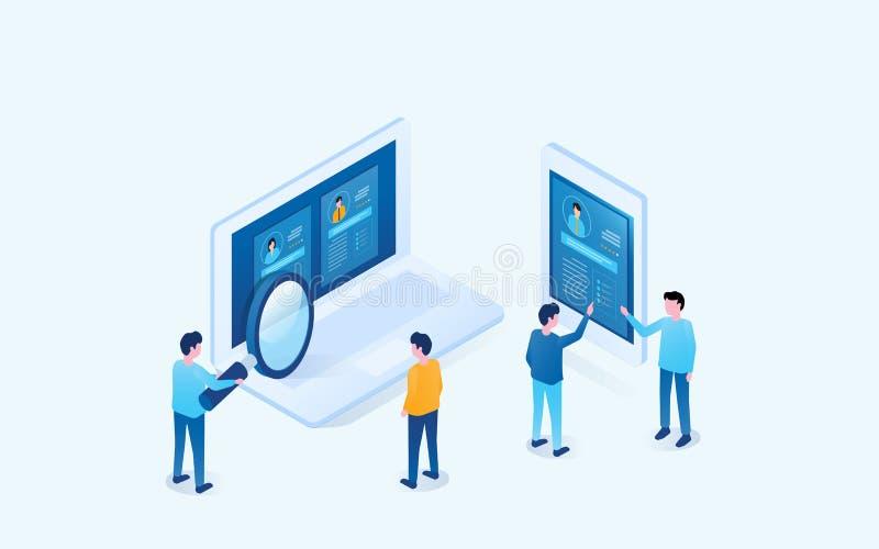 Isometrisches Entwurfsgeschäftsteamforschungs-Leute Profil für die Jobeinstellung lizenzfreie abbildung