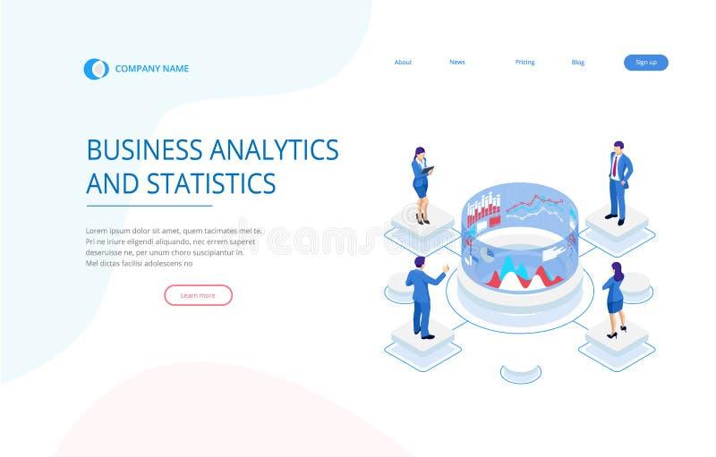 Isometrisches Expertenteam f?r Datenanalyse, Gesch?fts-Statistik, Management, beraten, Marketing Moderner Analytics stock abbildung