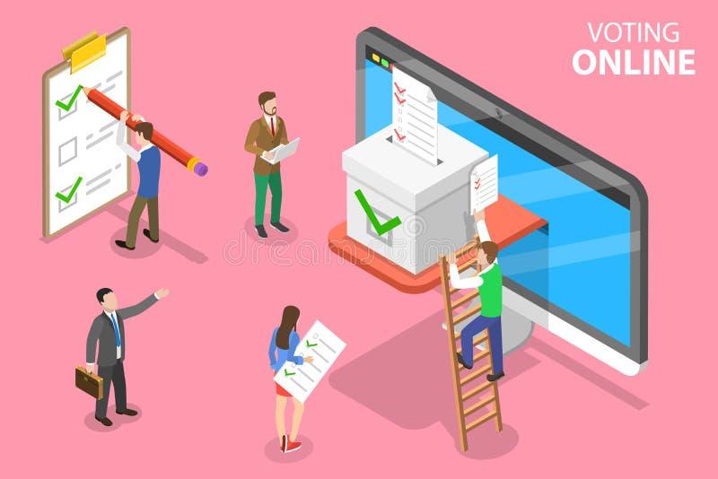 Isometrisches flaches Vektorkonzept der on-line-Abstimmung und der Wahl, e-w?hlend lizenzfreie abbildung