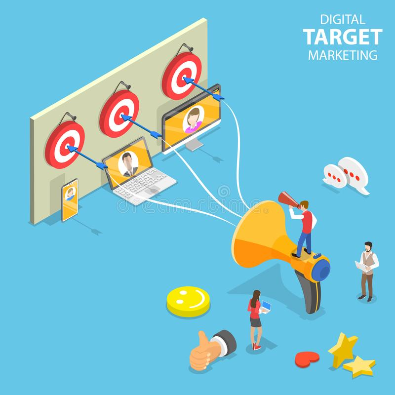 Isometrisches flaches Vektorkonzept des digitalen zielgruppenorientierten Marketings, gerichtete Werbung stock abbildung