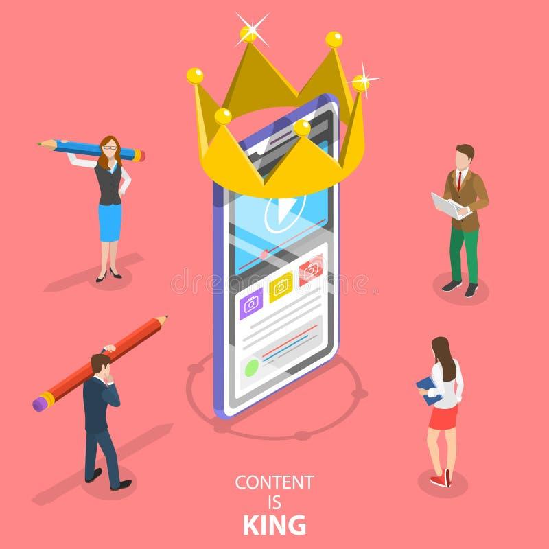 Isometrisches flaches Vektorkonzept des Inhalts ist König, Werbetexter vektor abbildung