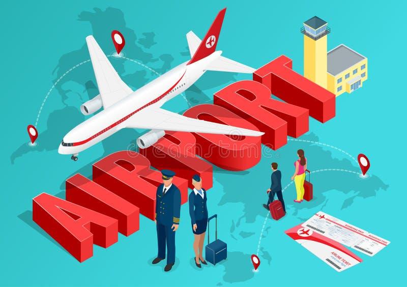 Isometrisches Flughafen-Reisekonzept Das Passagierflugzeug auf dem Hintergrund der Karte der Welt und des Textes von stock abbildung