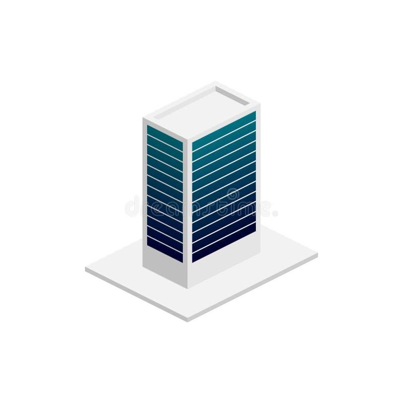 Isometrisches Gebäude Element der Farbgebäudeikone für mobile Konzept und Netz Apps Ausführliche isometrische errichtende Ikone k stock abbildung