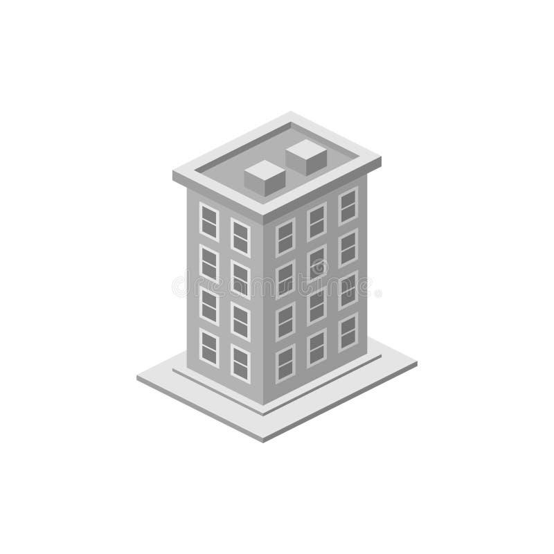 Isometrisches Gebäude Element der Farbgebäudeikone für mobile Konzept und Netz Apps Ausführliche isometrische errichtende Ikone k lizenzfreie abbildung