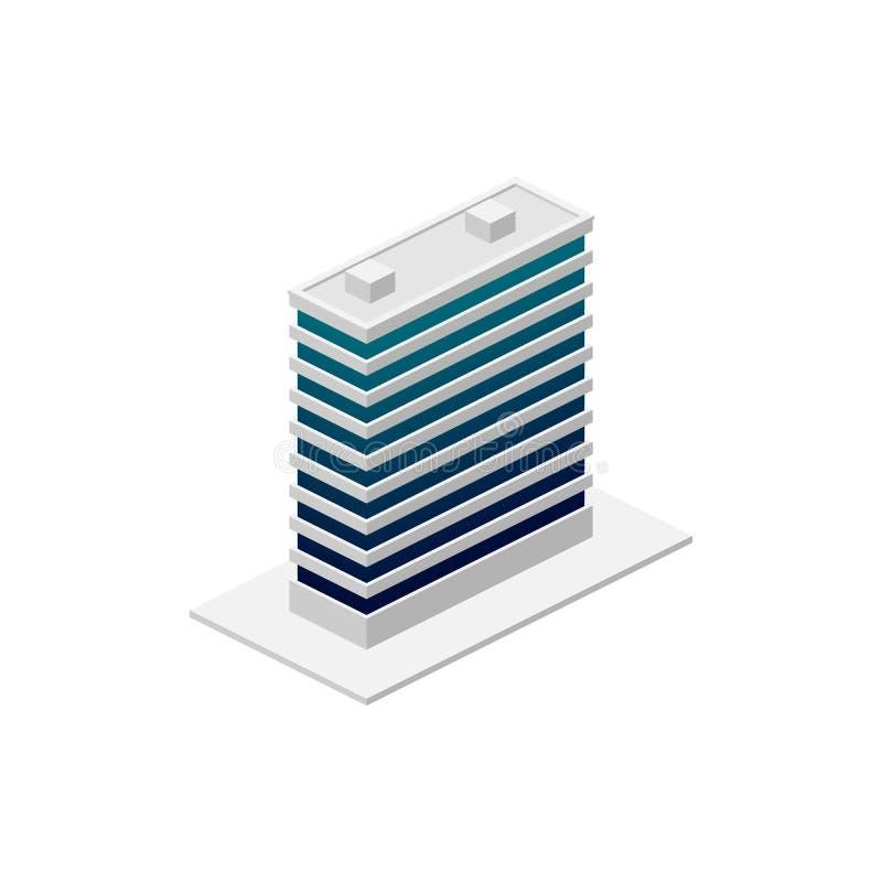 Isometrisches Gebäude Element der Farbgebäudeikone für mobile Konzept und Netz Apps Ausführliche isometrische errichtende Ikone k vektor abbildung