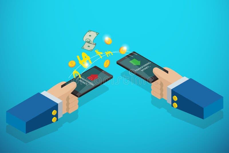 Isometrisches Geschäft übergibt das Halten von Smartphone zu Übertragungsgeld-, Technologie- und Geschäftskonzept stockfoto