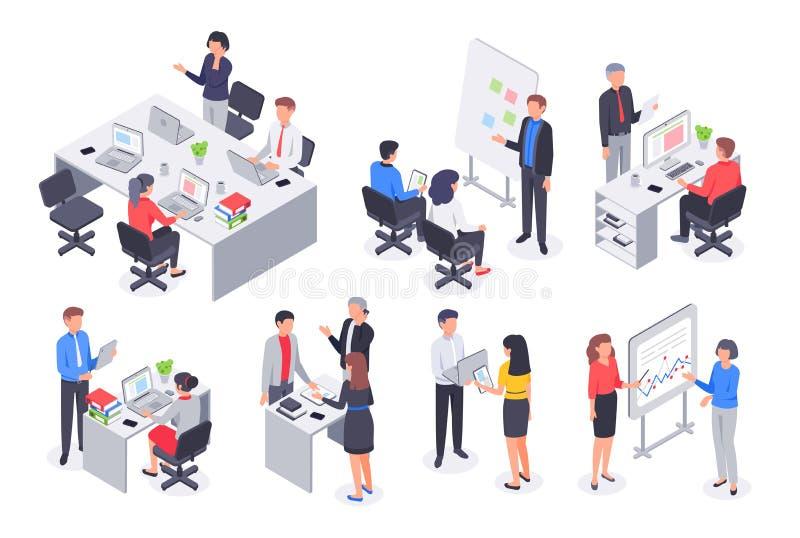 Isometrisches Geschäftslokalteam Unternehmensteamwork-Sitzung, Angestelltarbeitsplatz und Leute bearbeiten Illustration des Vekto stock abbildung