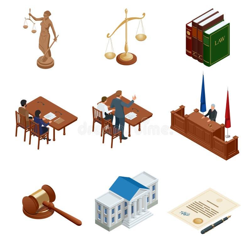 Isometrisches Gesetz und Gerechtigkeit Symbole von Rechtsvorschriften Rechtliche Ikonen eingestellt Legales rechtliches, Tribunal lizenzfreie abbildung
