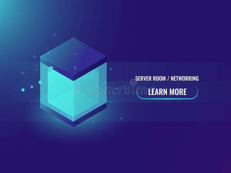 Isometrisches großes Datenspeicherungsblockneonkonzept, abstrakte Technologiefahne, glänzender Würfelkasten, blockchain Vektor lizenzfreie abbildung