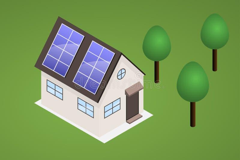 Isometrisches Haus auf Rasen mit Bäumen Haus hat Sonnenkollektoren auf Th stock abbildung