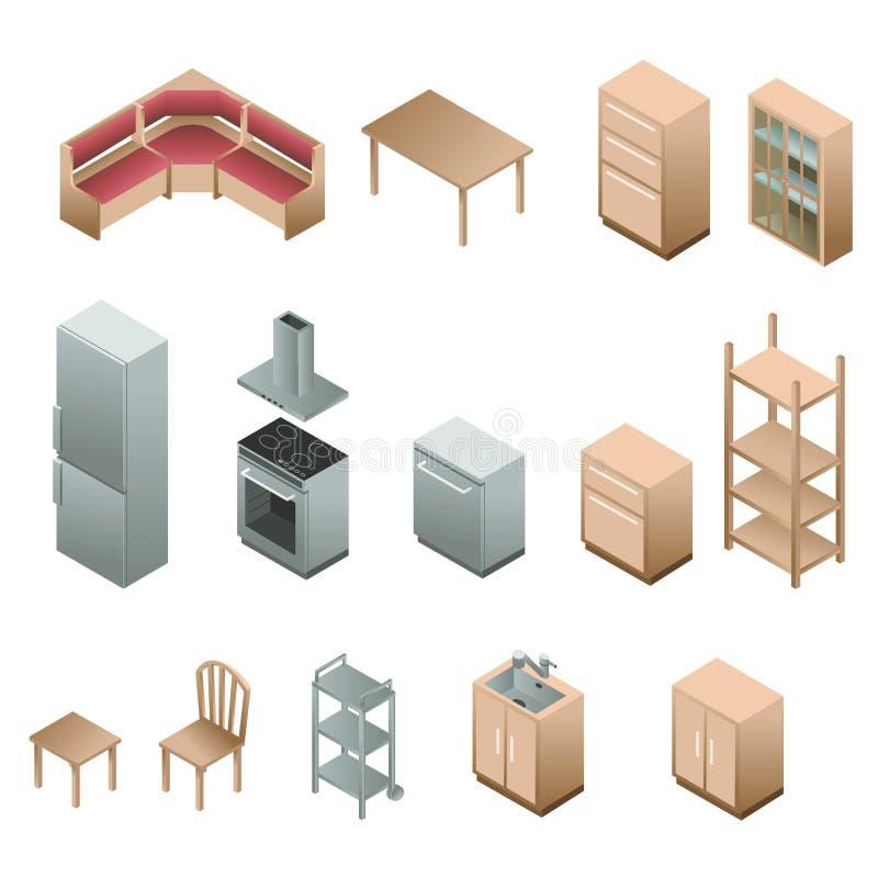 Isometrisches Holzmöbel für Küche stock abbildung