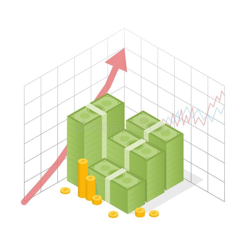 Isometrisches IkonenGeldmengenwachstum Häufen Sie Dollar und Goldmünzen mit hohem Pfeil an Auch im corel abgehobenen Betrag vektor abbildung