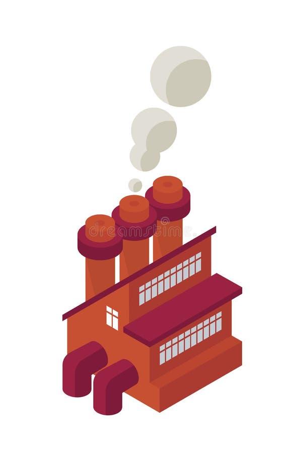 Isometrisches industrielles Fabrik-Bauobjekt oder Ikone - Element für Netz, Tileset-Karte, Landschaftsdesign, städtische Architek stock abbildung