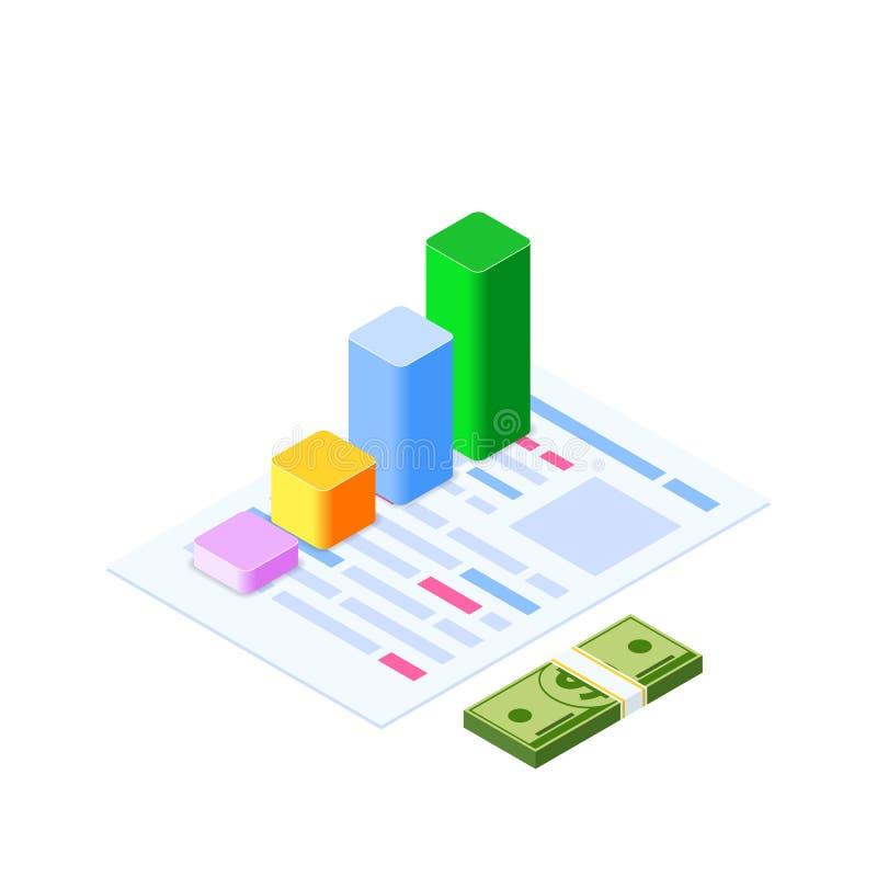 Isometrisches infographic Beraten Sie sich und Verwaltung Unternehmensrisikodiagramm zur Technik des Werbewerts konto lizenzfreie abbildung