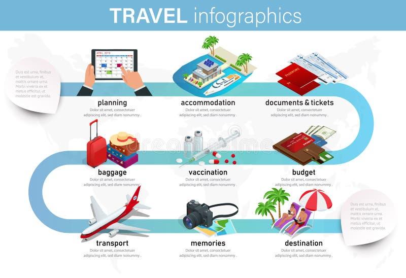 Isometrisches infographics Konzept des Planes Ihre Ferien, Reise für Ihr Geschäft, Website, Darstellungen, usw. annoncierend stock abbildung