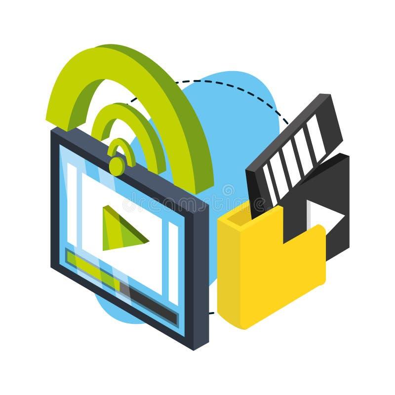 Isometrisches intelligentes Fernsehen mit mit schließen an und archivieren apps stock abbildung