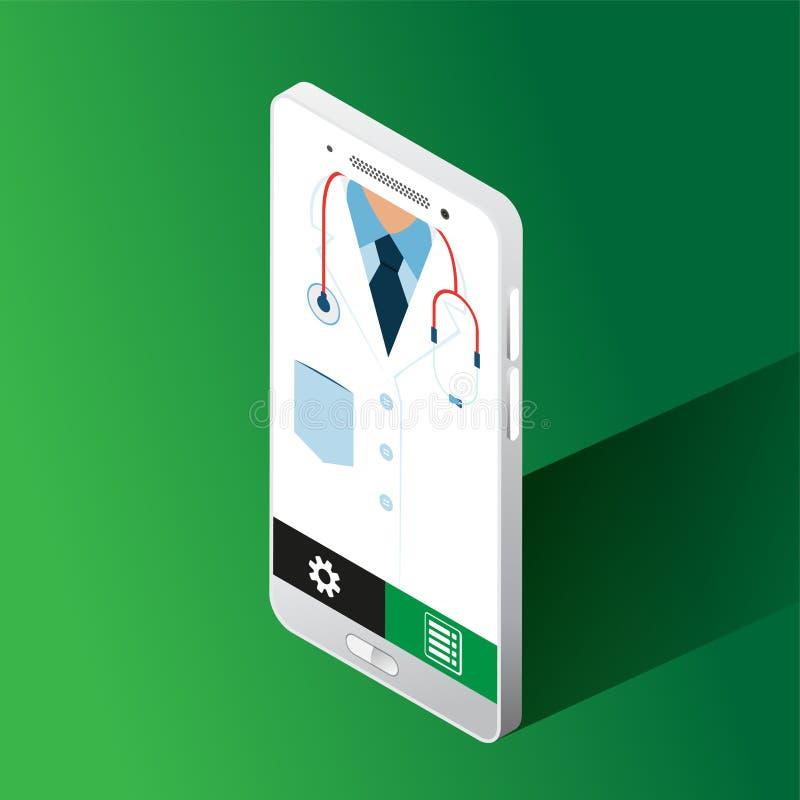 Isometrisches intelligentes Gesundheitswesenanwendungskonzept, Illustration vektor abbildung