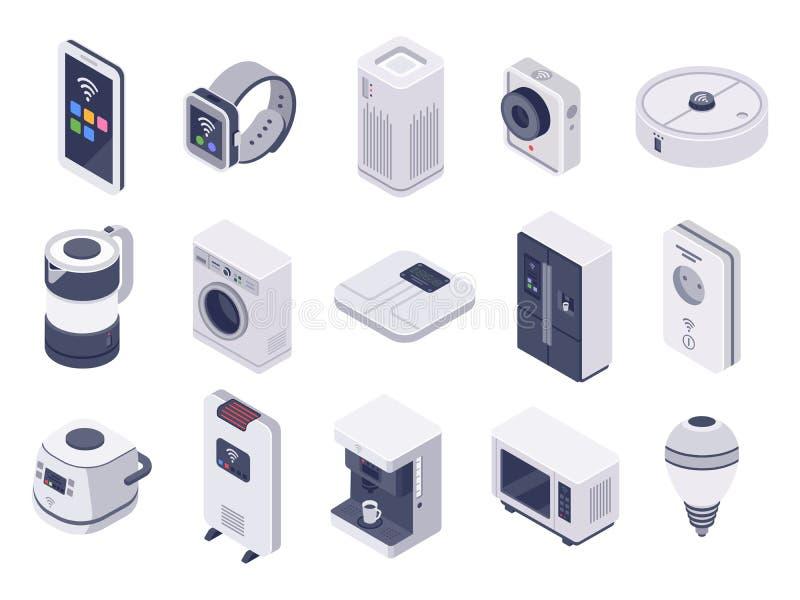 Isometrisches Internet von Sachengeräten Intelligente Uhr, Haushaltsgeräte und drahtloser kontrollierter Vektor der Mikrowelle 3d stock abbildung