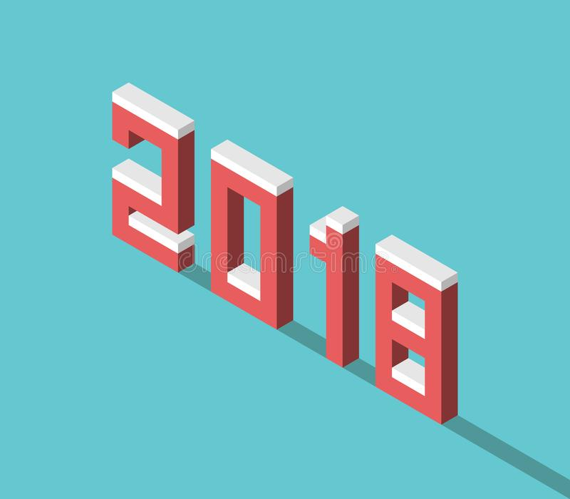 Isometrisches 2018-jähriges Snowy lizenzfreie abbildung