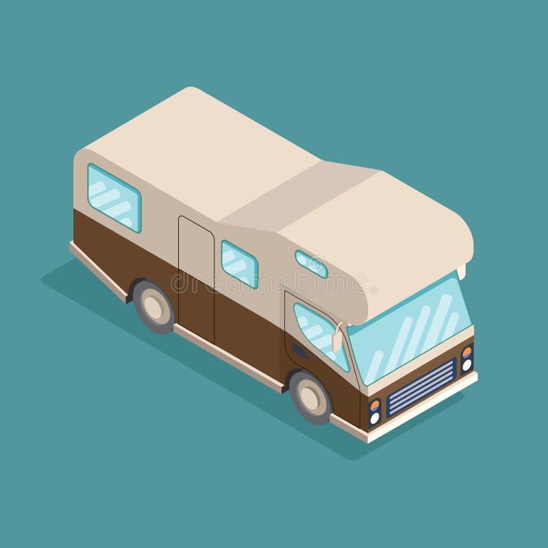 Isometrisches kampierendes Auto Reisende Anzeige, infographics, Spiel, bewegliches apps Ikonendesign stock abbildung