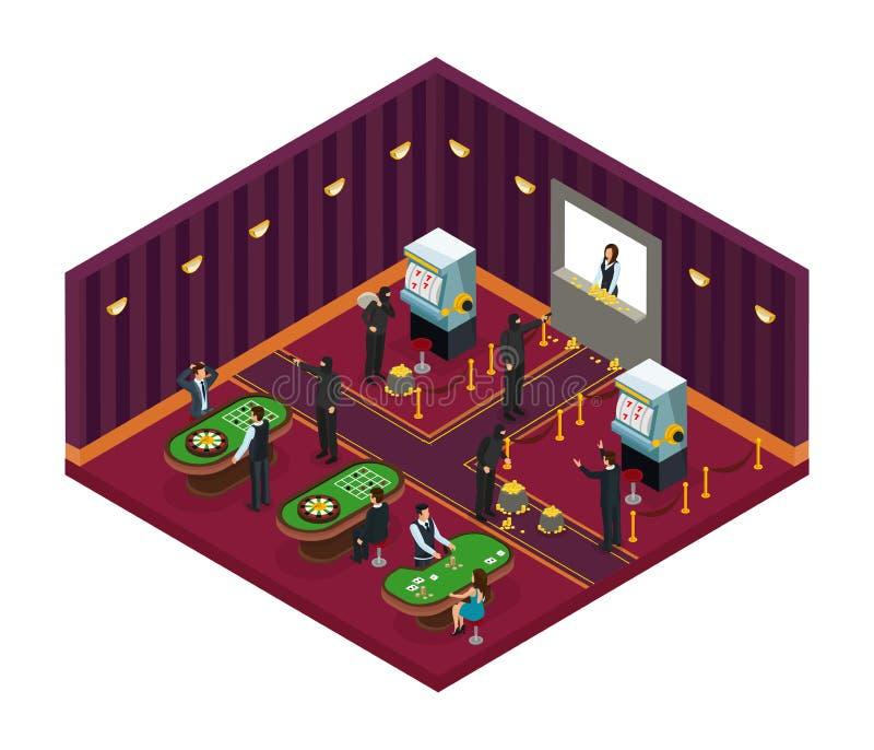 Isometrisches Kasino-Raub-Konzept lizenzfreie abbildung
