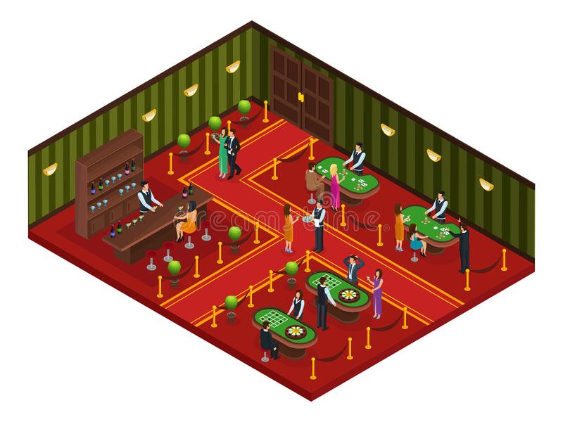 Isometrisches Kasino-Spiel-Raum-Konzept lizenzfreie abbildung
