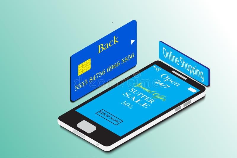 Isometrisches kaufendes on-line-Geschäft der neuen Technologie des intelligenten Telefons stockfotos