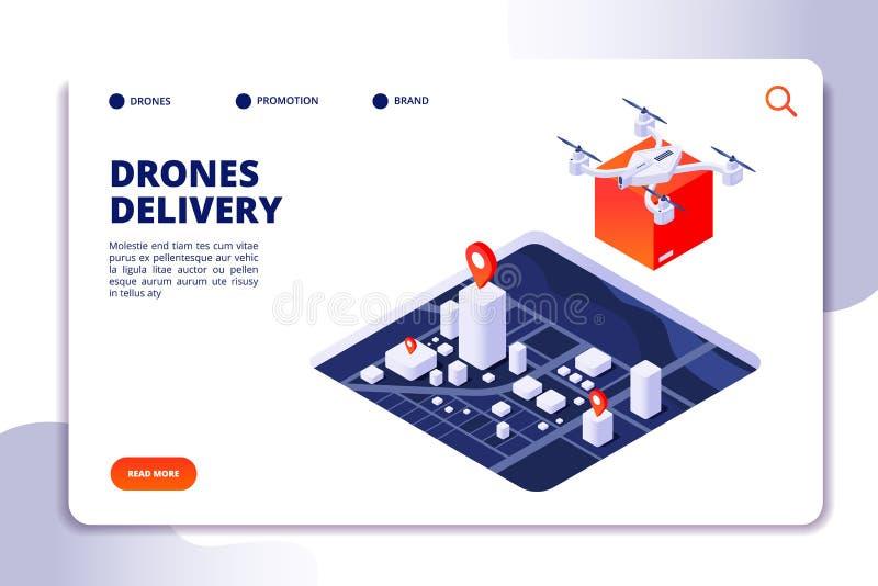 Isometrisches Konzept der Brummenlogistik Zukünftiges Lieferverfahren, Versand mit unbemannten Brummen und quadcopter Vektor stock abbildung