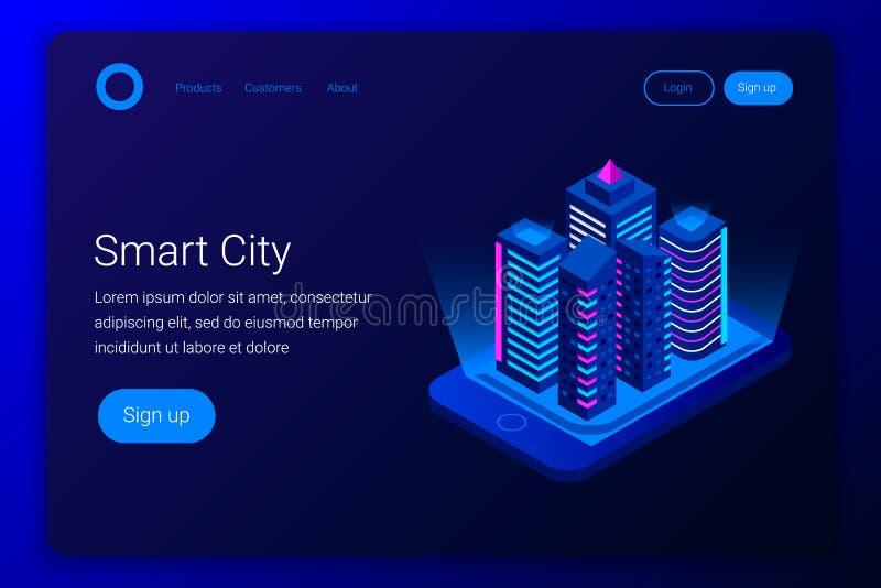 Isometrisches Konzept der intelligenten Stadt stock abbildung