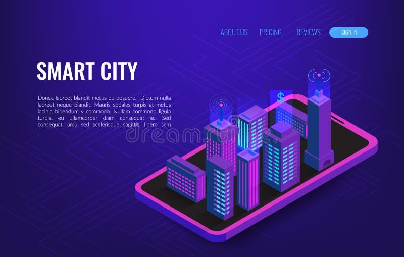 Isometrisches Konzept der intelligenten Stadt Gebäudeautomatisierung mit Computervernetzungsillustration IoT-Plattform-Zukunfttec lizenzfreie abbildung