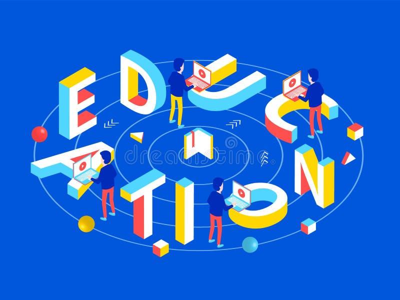Isometrisches Konzept der on-line-Bildung stock abbildung
